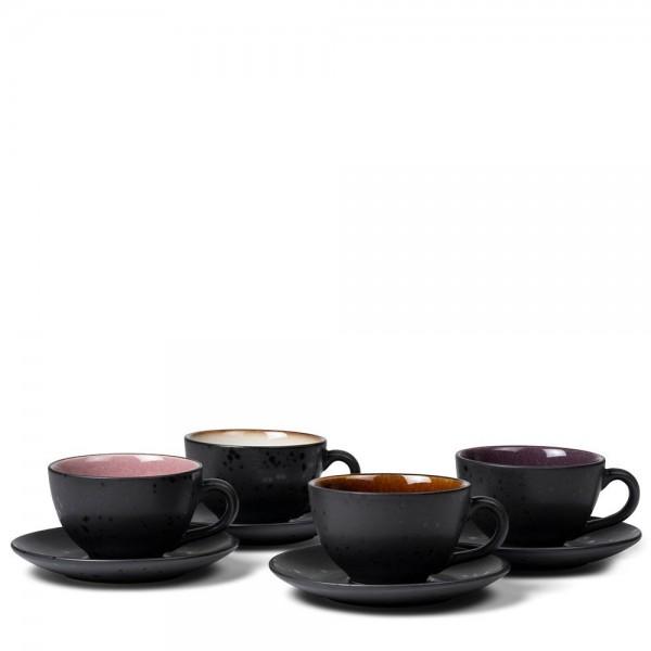 Tasse mit Untersetzer-Set 24 cl 4 Stück Steingut Schwarz-amb