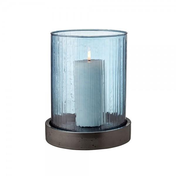 Hurricane m. LED Kerze 24 cm Blau