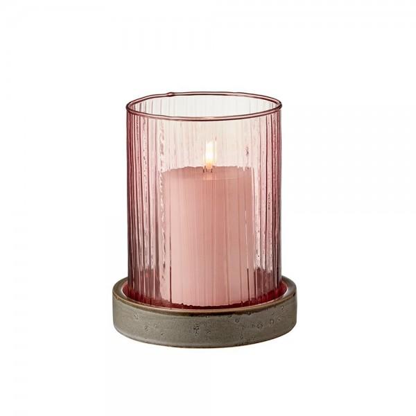 Hurricane m. LED Kerze 17 cm Pink