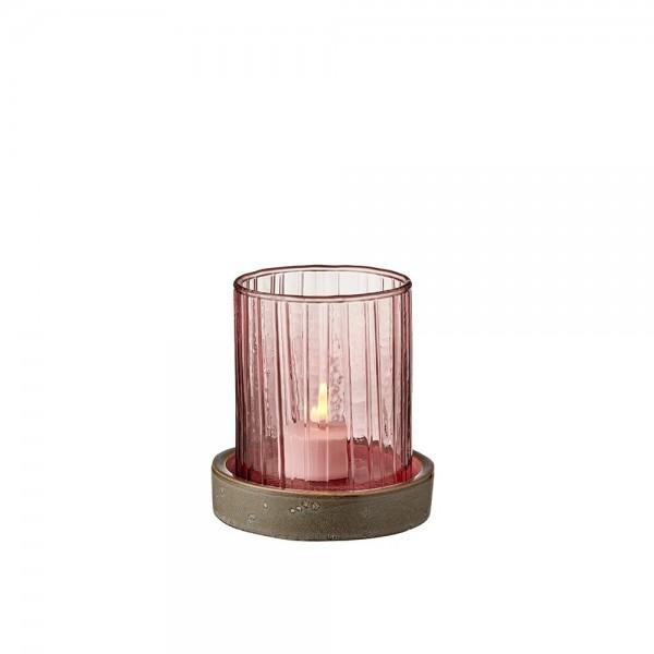 Hurricane m. LED Kerze 11 cm Pink