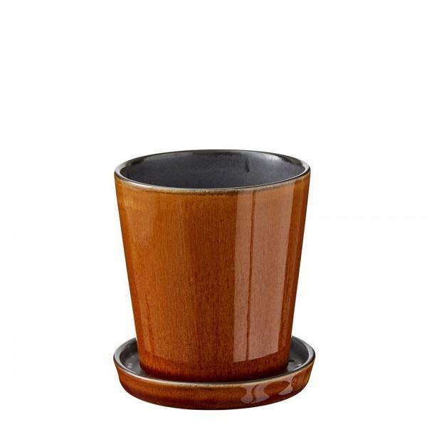 Übertopf 10 cm Steingut Amber/Schwarz