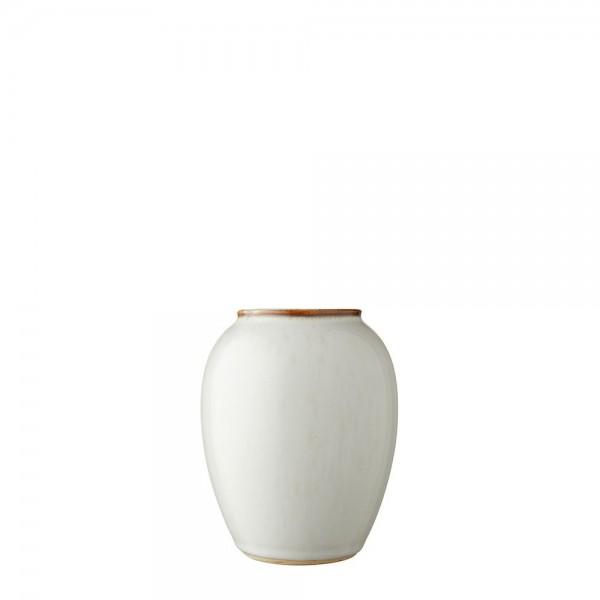 Vase x 12,5 cm Steingut cremeweiß