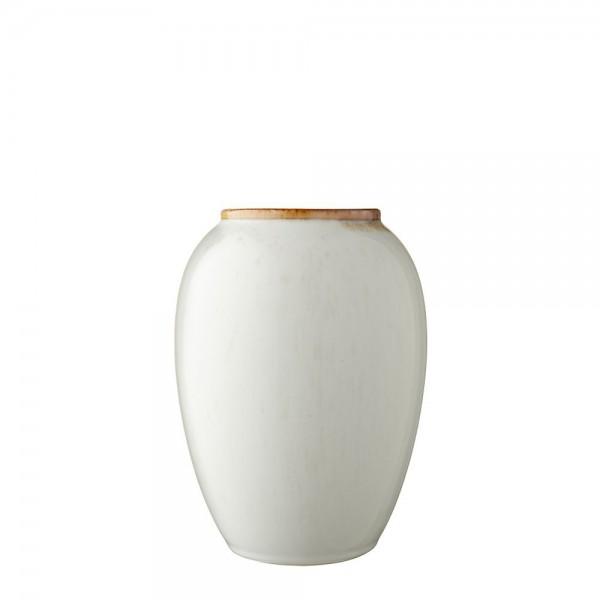 Vase x 20 cm Steingut  cremeweiß