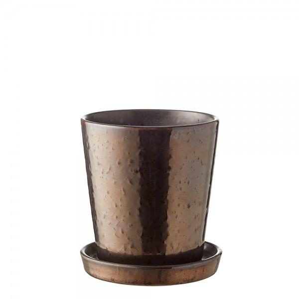Übertopf 10 cm Schwarz/Bronze BITZ