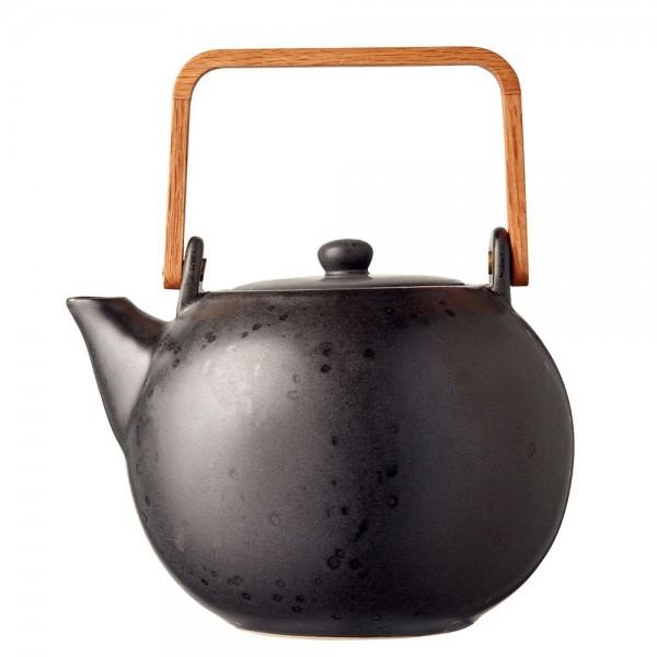 Teekanne m. Teesieb 1,2 Steingut Schwarz