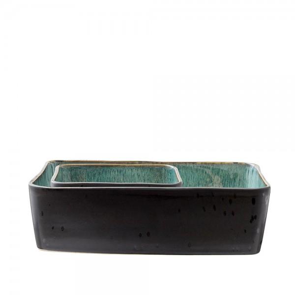 Platte-Set rechteckig 2 Stück  Steingut Schwarz-grün