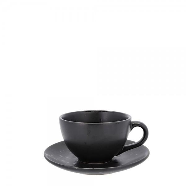 Tasse mit Untersetzer 24 cl Steingut Schwarz