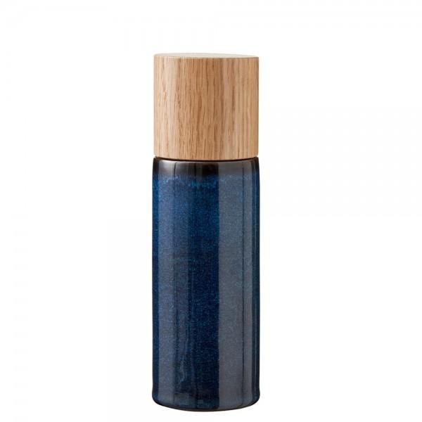 Salzmühle 17 cm Steingut Dunkelblau