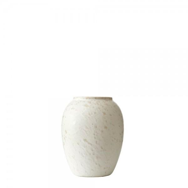 Vase x 12,5 cm Steingut Matt cremeweiß