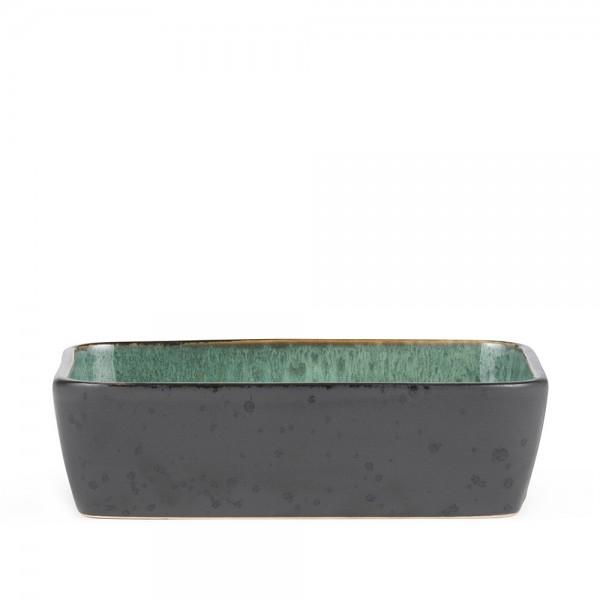 Platte rechteckig 33 x 21 cm Steingut Schwarz-grün