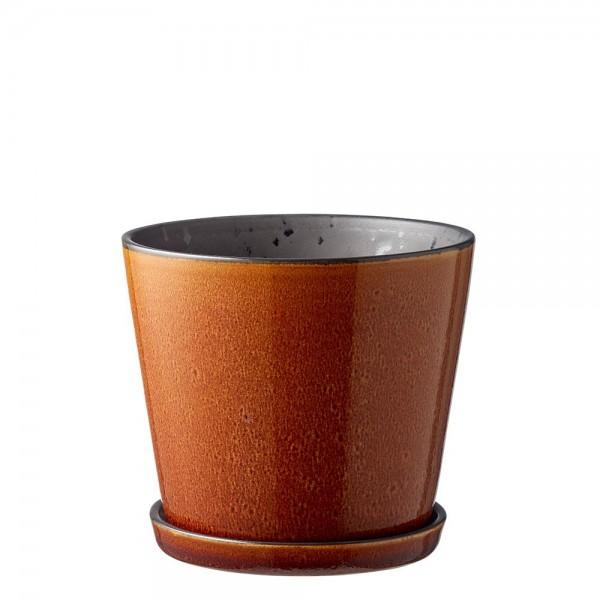 Übertopf 14 cm Steingut Amber/schwarz