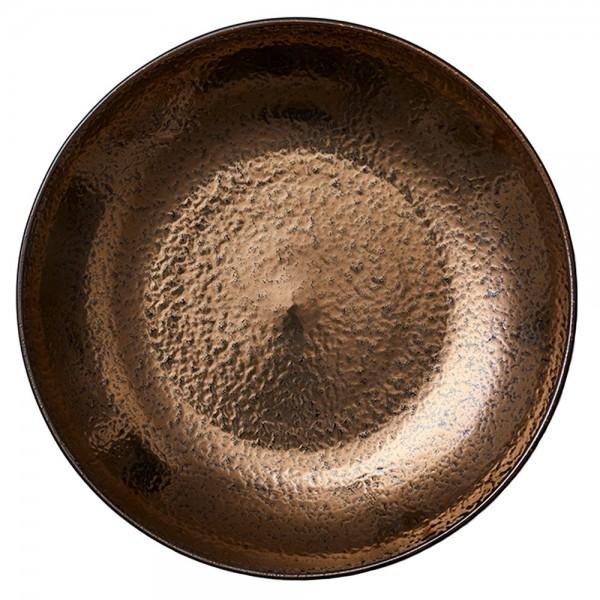 Platte 40 cm Steingut Schwarz-bronze