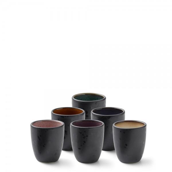 Espressotassen-Set 9 cl Steingut 6 Stück Schwarz-amber/lila