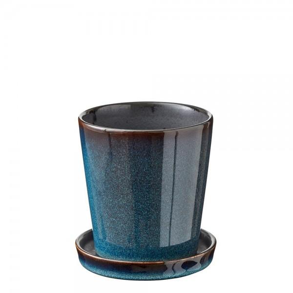 Übertopf 10 cm Steingut Dunkel Blau/Schwarz