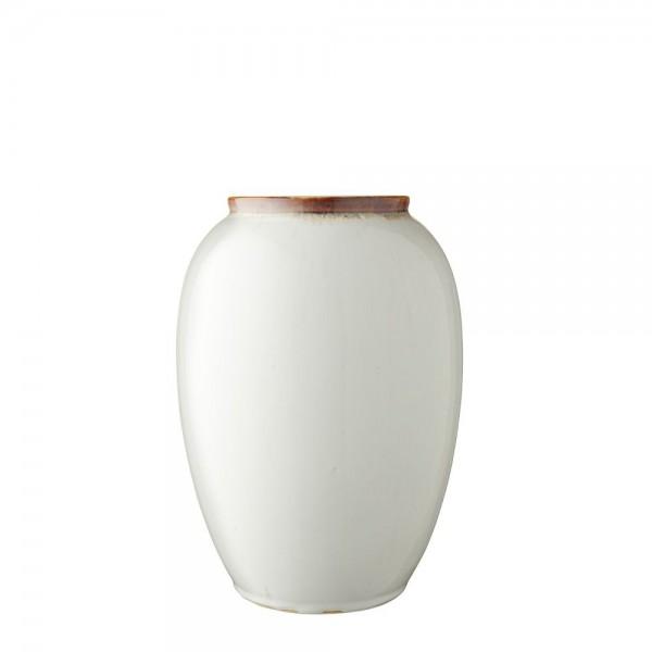Vase x 25 cm Steingut cremeweiß