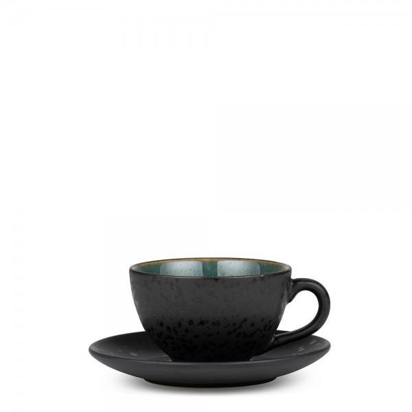Tasse mit Untersetzer 24 cl Steingut Schwarz-grün