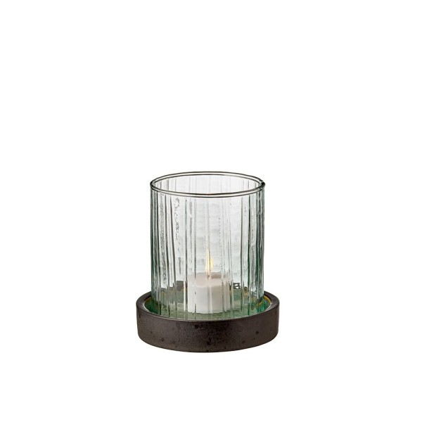 Hurricane m. LED Kerze 11 cm Grün