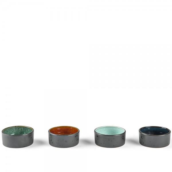 Minischale set Steingut Schwarz-amber/hell blau/grün/dunkel