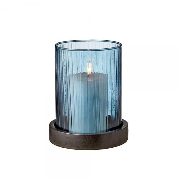 Hurricane m. LED Kerze 17 cm Blau